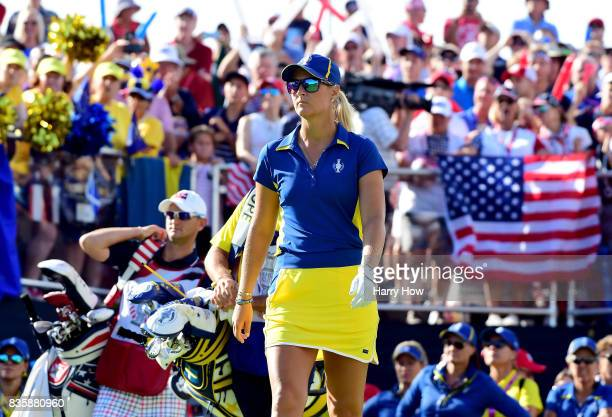 Anna Nordqvist of Team Europe leaves the first tee in her match against Lexi Thompson of Team USA during the final day singles matches of the Solheim...