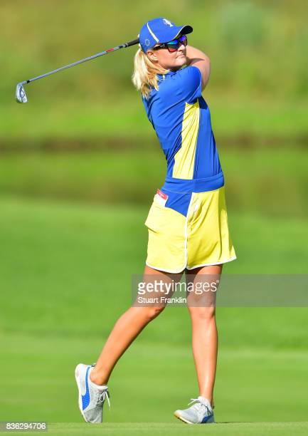 Anna Nordqvist of Team Europe plays a shot during the final day singles matches of The Solheim Cup at Des Moines Golf and Country Club on August 20...