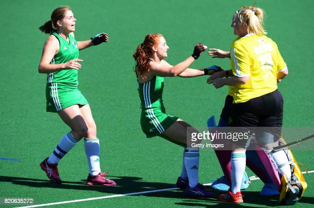 Anna O'Flanagan and Ayeisha McFerran of Ireland celebrate during day 8 of the FIH Hockey World League Women's Semi Finals 7th8th place match between...