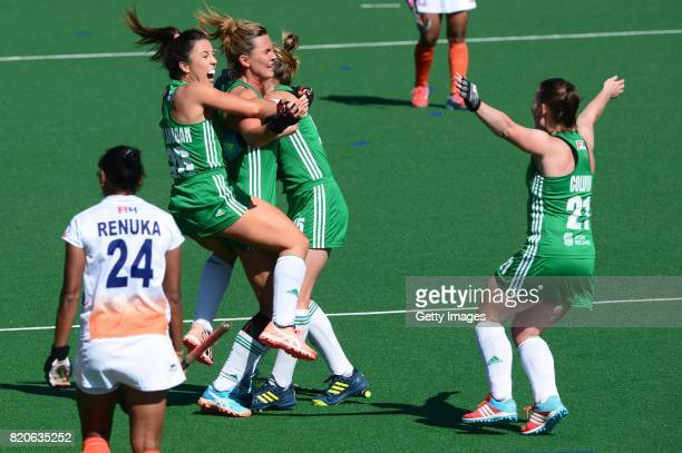Anna O'Flanagan of Ireland celebrates with her team mates during day 8 of the FIH Hockey World League Women's Semi Finals 7th8th place match between...