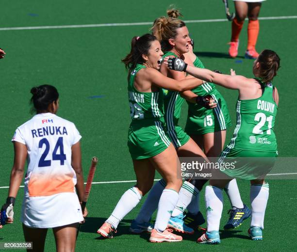 Anna O'Flanagan of Irelandcelebrates with her team mates during day 8 of the FIH Hockey World League Women's Semi Finals 7th8th place match between...
