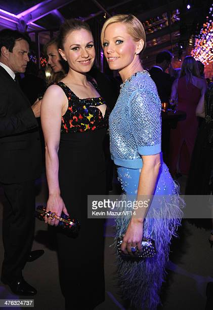 Anna Paquin and Elizabeth Banks attend the 2014 Vanity Fair Oscar Party Hosted By Graydon Carter on March 2 2014 in West Hollywood California