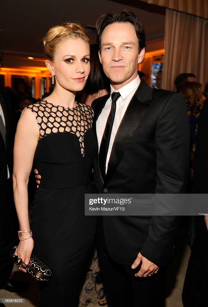 <a gi-track='captionPersonalityLinkClicked' href=/galleries/search?phrase=Anna+Paquin&family=editorial&specificpeople=211602 ng-click='$event.stopPropagation()'>Anna Paquin</a> and <a gi-track='captionPersonalityLinkClicked' href=/galleries/search?phrase=Stephen+Moyer&family=editorial&specificpeople=4323688 ng-click='$event.stopPropagation()'>Stephen Moyer</a> attend the 2013 Vanity Fair Oscar Party hosted by Graydon Carter at Sunset Tower on February 24, 2013 in West Hollywood, California.