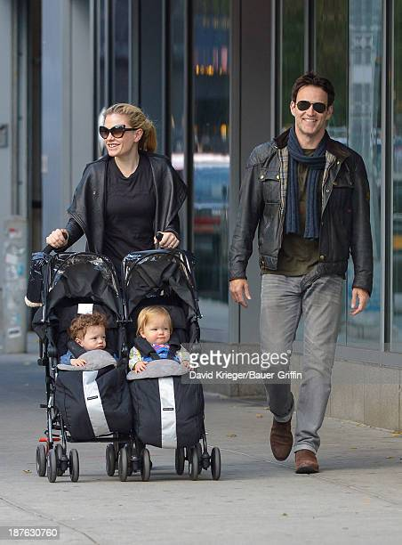 Anna Paquin and Stephen Moyer with their twins Poppy Moyer and Charlie Moyer are seen on November 10 2013 in New York City