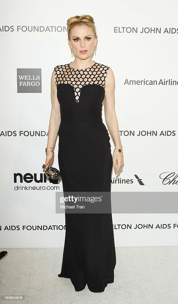 Anna Paquin arrives at the 21st Annual Elton John AIDS Foundation Academy Awards viewing party held at West Hollywood Park on February 24, 2013 in West Hollywood, California.