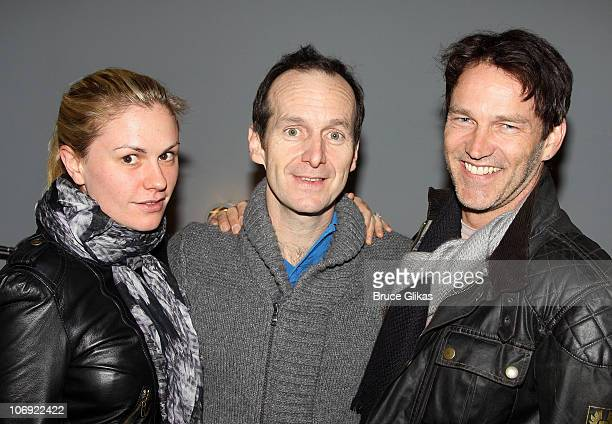 Anna Paquin Denis O'Hare and Stephen Moyer pose backstage at 'Elling' on Broadway at The Barrymore Theater on November 16 2010 in New York City