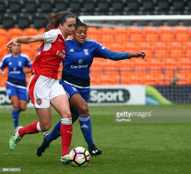 Anna Patten of Arsenal Ladies holds of Jess Carter of Birmingham City LFC during Women's Super League 1 Spring Series match between Arsenal Ladies...