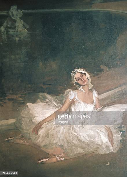 Anna Pavlova russian ballet dancer in Tchaikovskys 'Swan Lake' Painting John Lavery 1911 [Anna Pawlowa russ Balett Taenzerin in Tschaikowskis...