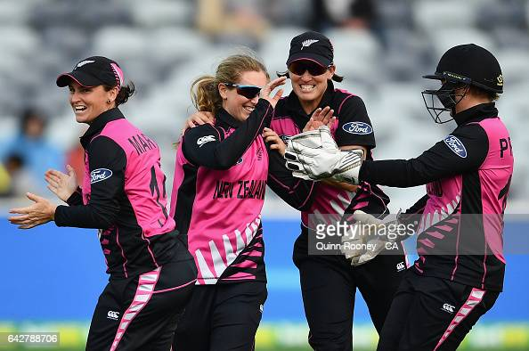 Anna Peterson of New Zealand is congratulated by team mates after getting a hatrick during the second Women's International Twenty20 match between...