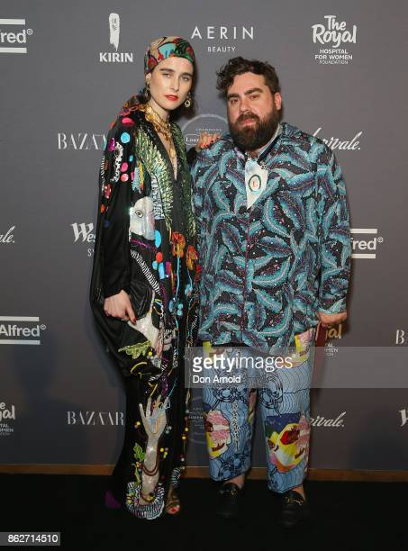 Anna Plunkett and Luke Sales arrive ahead of BAZAAR in Bloom at The Ivy on October 18 2017 in Sydney Australia