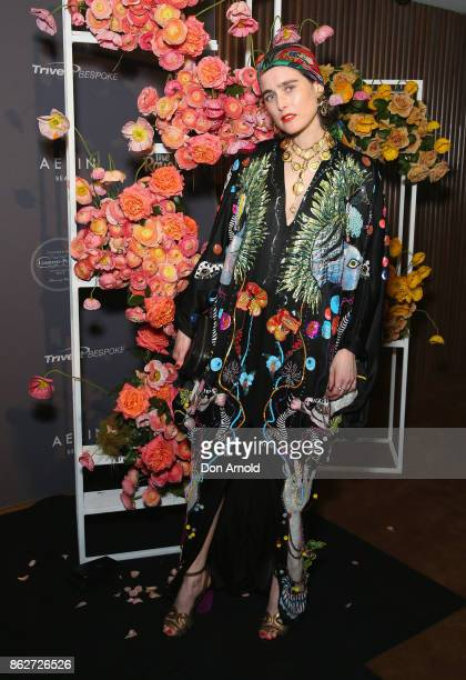 Anna Plunkett arrives ahead of BAZAAR in Bloom at The Ivy on October 18 2017 in Sydney Australia