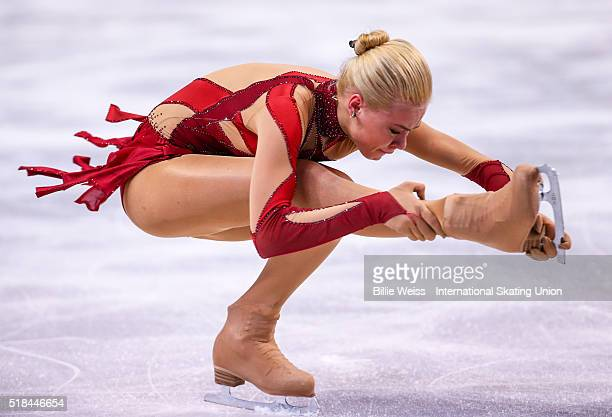 Anna Pogorilaya of Russia competes during Day 4 of the ISU World Figure Skating Championships 2016 at TD Garden on March 31 2016 in Boston...