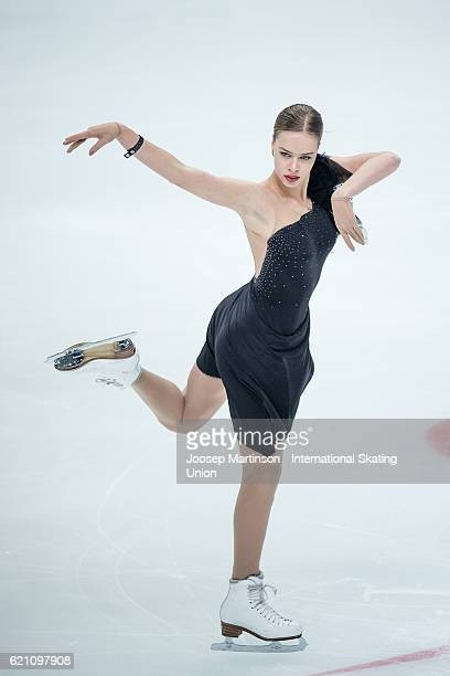 Anna Pogorilaya of Russia competes during Ladies Short Program on day one of the Rostelecom Cup ISU Grand Prix of Figure Skating at Megasport Ice...