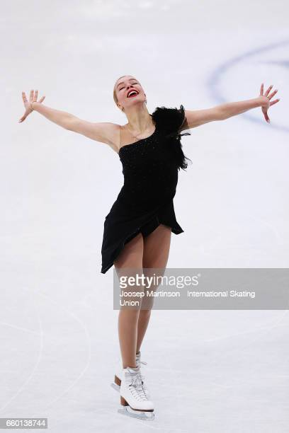 Anna Pogorilaya of Russia competes in the Ladies Short Program during day one of the World Figure Skating Championships at Hartwall Arena on March 29...