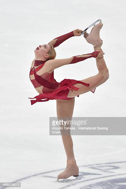 Anna Pogorilaya of Russia competes in the ladies's short program during the day one of the NHK Trophy ISU Grand Prix of Figure Skating 2015 at the...