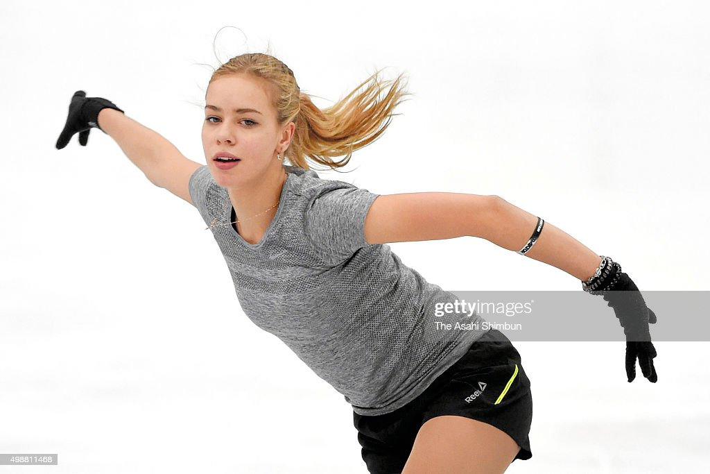 <a gi-track='captionPersonalityLinkClicked' href=/galleries/search?phrase=Anna+Pogorilaya&family=editorial&specificpeople=10062042 ng-click='$event.stopPropagation()'>Anna Pogorilaya</a> of Russia in action during a training session ahead of the NHK Trophy ISU Grand Prix of Figure Skating at Big Hat on November 26, 2015 in Nagano, Japan.