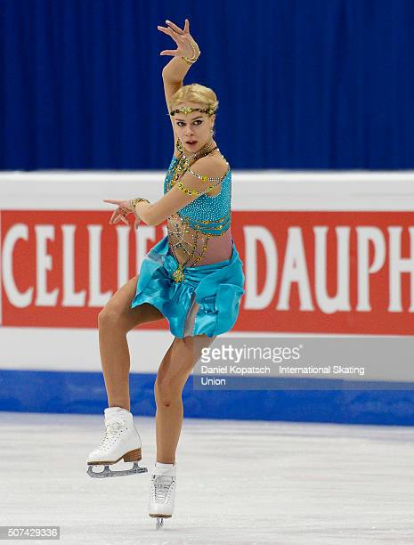 Anna Pogorilaya of Russia performs during the Ladies Free Skating during day three of the ISU European Figure Skating Championships 2016 on January...