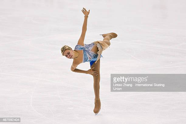 Anna Pogorilaya of Russia performs during the Ladies Short Program on day two of the 2015 ISU World Figure Skating Championships at Shanghai Oriental...