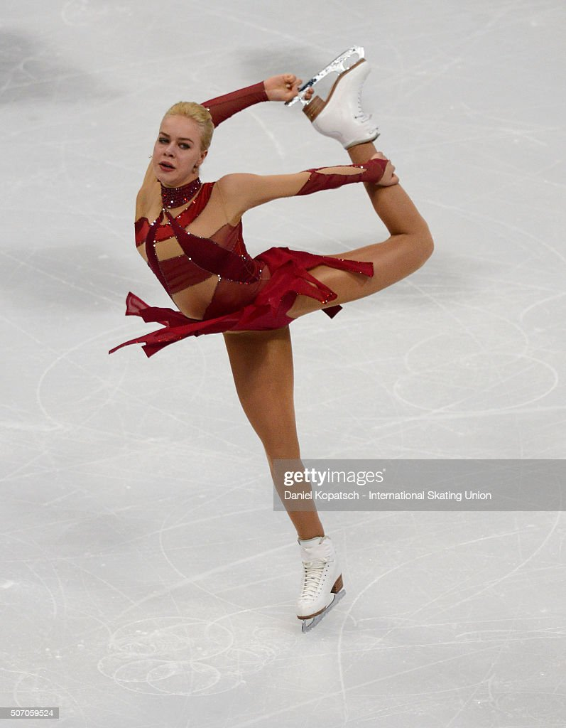 <a gi-track='captionPersonalityLinkClicked' href=/galleries/search?phrase=Anna+Pogorilaya&family=editorial&specificpeople=10062042 ng-click='$event.stopPropagation()'>Anna Pogorilaya</a> of Russia performs during the Ladies Short Program during day one of the ISU European Figure Skating Championships 2016 on January 27, 2016 in Bratislava, Slovakia.
