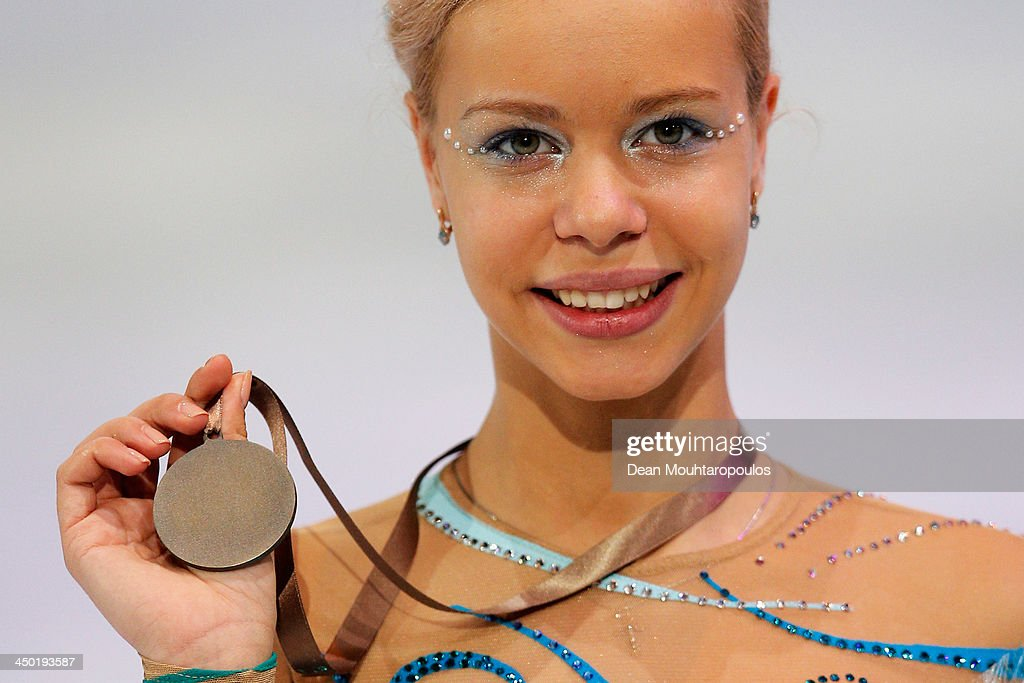 Anna Pogorilaya of Russia poses after winning the silver medal in the Ladies Free Skating during day two of Trophee Eric Bompard ISU Grand Prix of Figure Skating 2013/2014 at the Palais Omnisports de Bercy on November 16, 2013 in Paris, France.