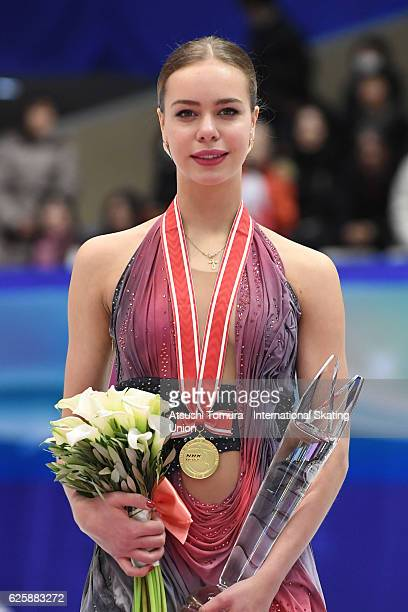 Anna Pogorilaya of Russia poses on the podium during the ISU Grand Prix of Figure Skating NHK Trophy on November 26 2016 in Sapporo Japan