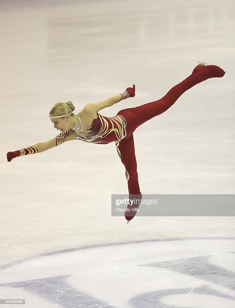 Anna Pogorilaya of Russia skate in the Junior Ladies Short Program during day 5 of the ISU World Junior Figure Skating Championships at Agora Arena on March 01, 2013 in Milan, Italy.
