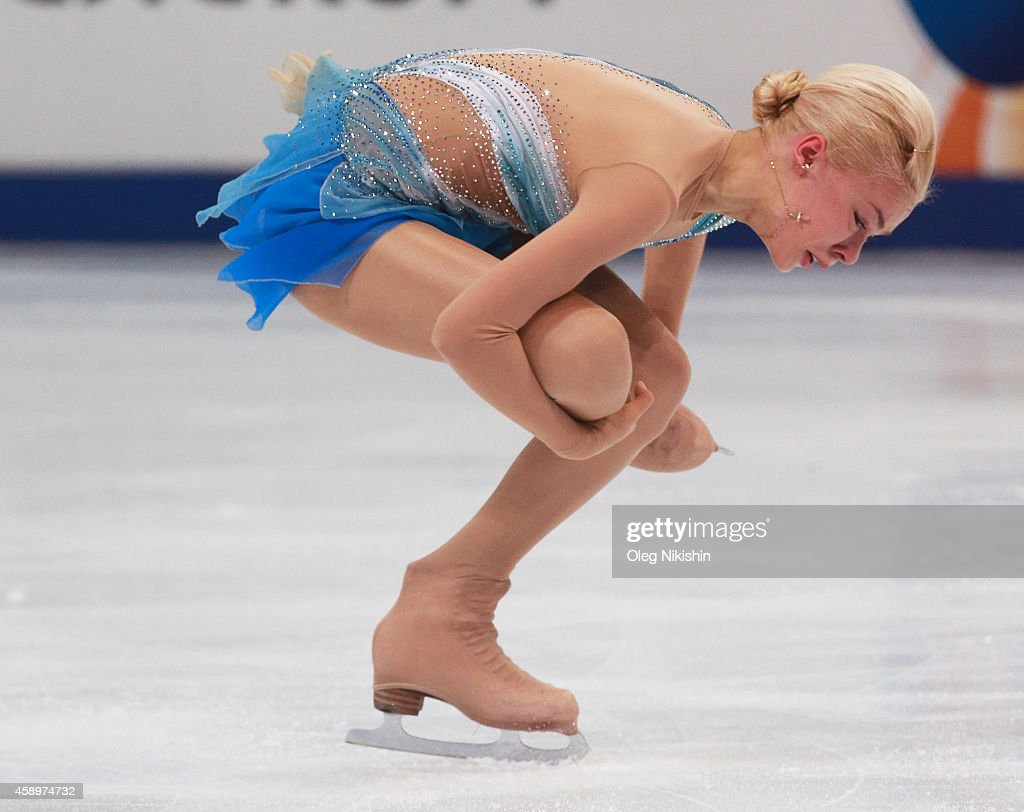 <a gi-track='captionPersonalityLinkClicked' href=/galleries/search?phrase=Anna+Pogorilaya&family=editorial&specificpeople=10062042 ng-click='$event.stopPropagation()'>Anna Pogorilaya</a> of Russia skates in the Ladies Short Programm Program during ISU Rostelecom Cup of Figure Skating 2014 on November 14, 2014 in Moscow, Russia.