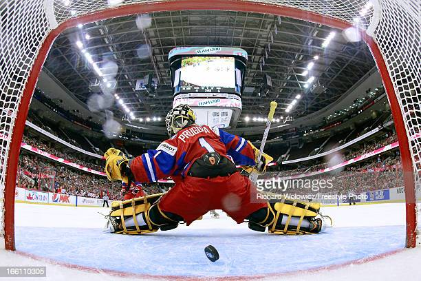 Anna Prugova of Team Russia lets in goal number 5 of the night during the second period of the IIHF Women's World Championship SemiFinal game against...