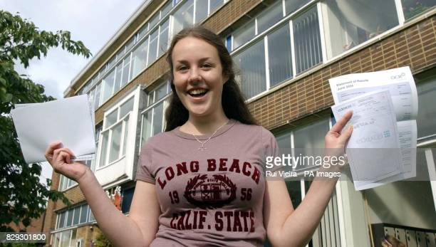 Anna Pugh celebrates her GCSE results at King Edward VI Camp Hill School for Girls King's Heath Birmingham Across England and Wales thousands of...