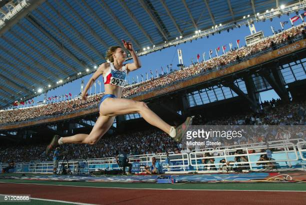 Anna Pyatykh of Russia competes in the women's triple jump final on August 23 2004 during the Athens 2004 Summer Olympic Games at the Olympic Stadium...