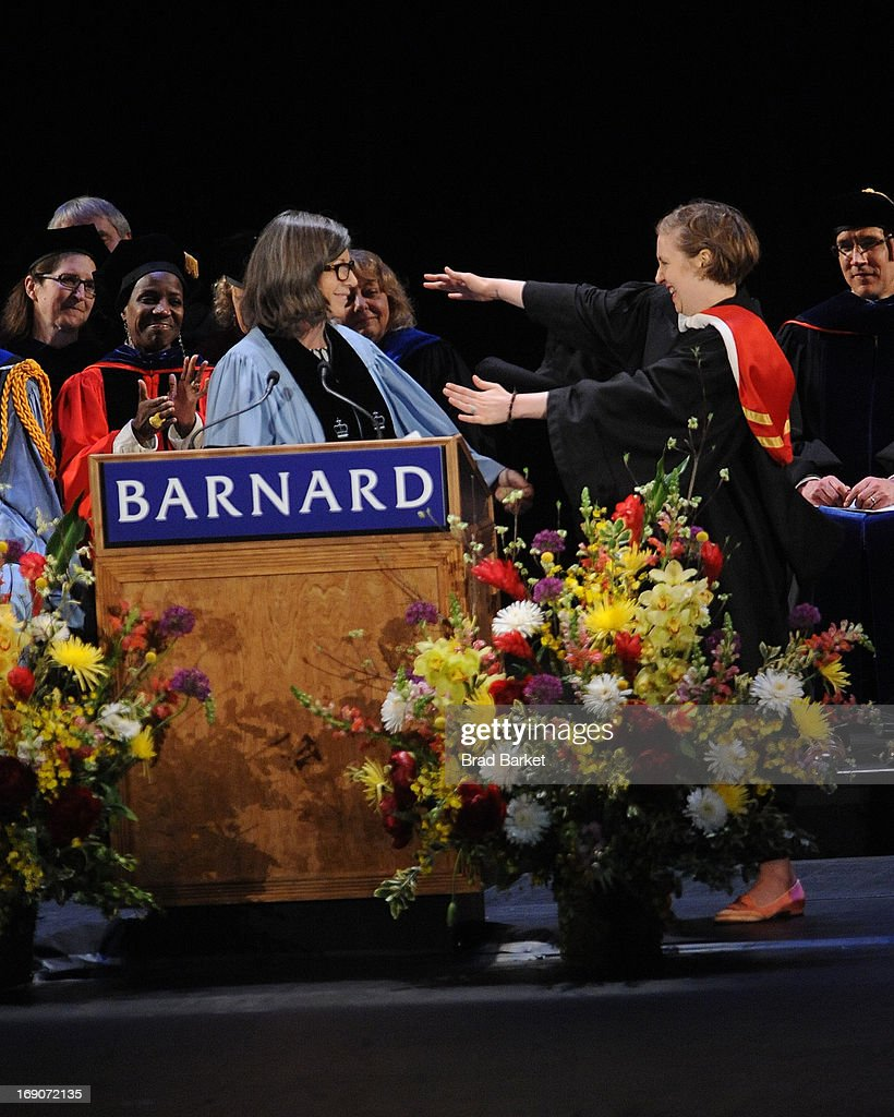 Anna Quindlen gives Actress <a gi-track='captionPersonalityLinkClicked' href=/galleries/search?phrase=Lena+Dunham&family=editorial&specificpeople=5836535 ng-click='$event.stopPropagation()'>Lena Dunham</a> a Barnard Medal of Distinction at the 2013 Barnard College Commencement at Radio City Music Hall on May 19, 2013 in New York City.