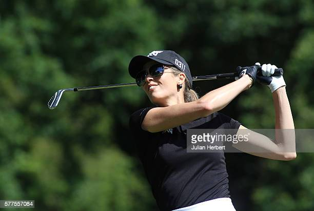 Anna Rawson plays a tee shot during the Berenberg Gary Player Invitational 2016 at Wentworth Golf Club on July 18 2016 in London England