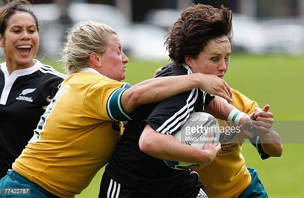 Anna Richards of the Black Ferns is tackled by Ruan Sims of the Wallaroos during the second test match between the New Zealand Black Ferns and the...