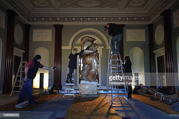 Anna Robinson Head of House and Collections at Harewood House prepares Epstein's famous sculpture Adam for transportation to London on November 10...