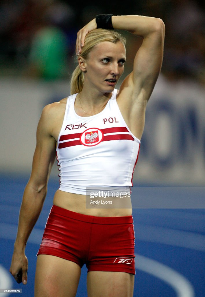 Anna Rogowska of Poland celebrates winning the gold medal in the women's Pole Vault Final during day three of the 12th IAAF World Athletics Championships at the Olympic Stadium on August 17, 2009 in Berlin, Germany.