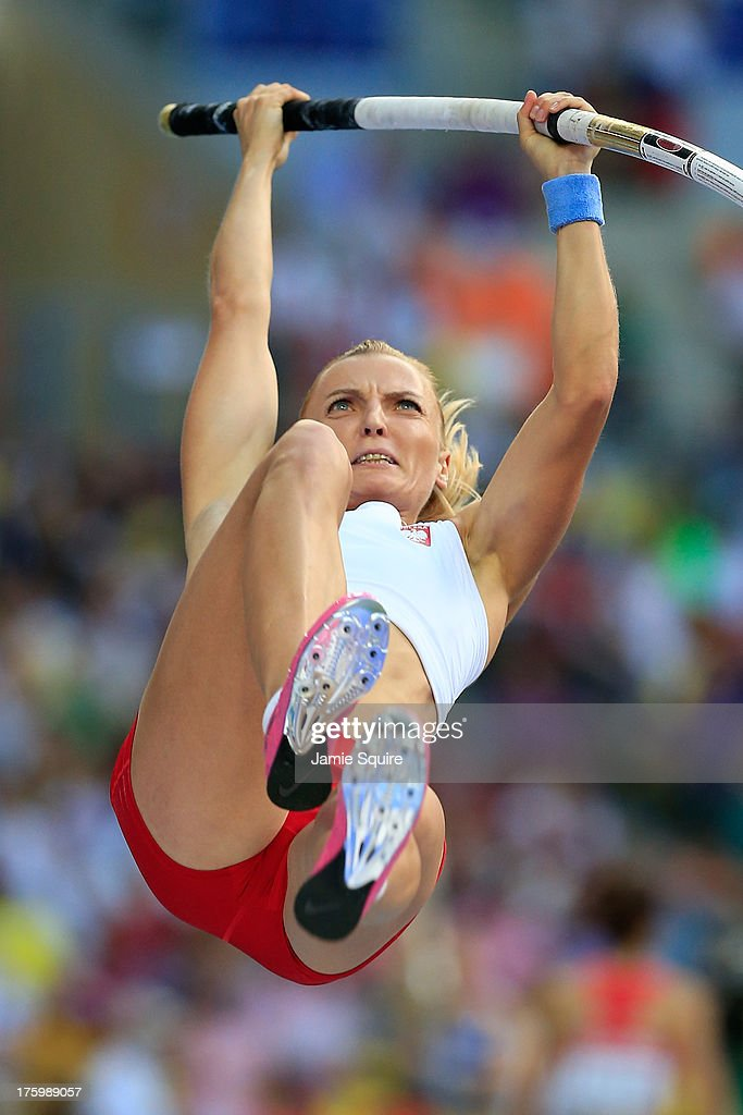 <a gi-track='captionPersonalityLinkClicked' href=/galleries/search?phrase=Anna+Rogowska&family=editorial&specificpeople=790729 ng-click='$event.stopPropagation()'>Anna Rogowska</a> of Poland competes in the Women's Pole Vault qualification during Day Two of the 14th IAAF World Athletics Championships Moscow 2013 at Luzhniki Stadium on August 11, 2013 in Moscow, Russia.