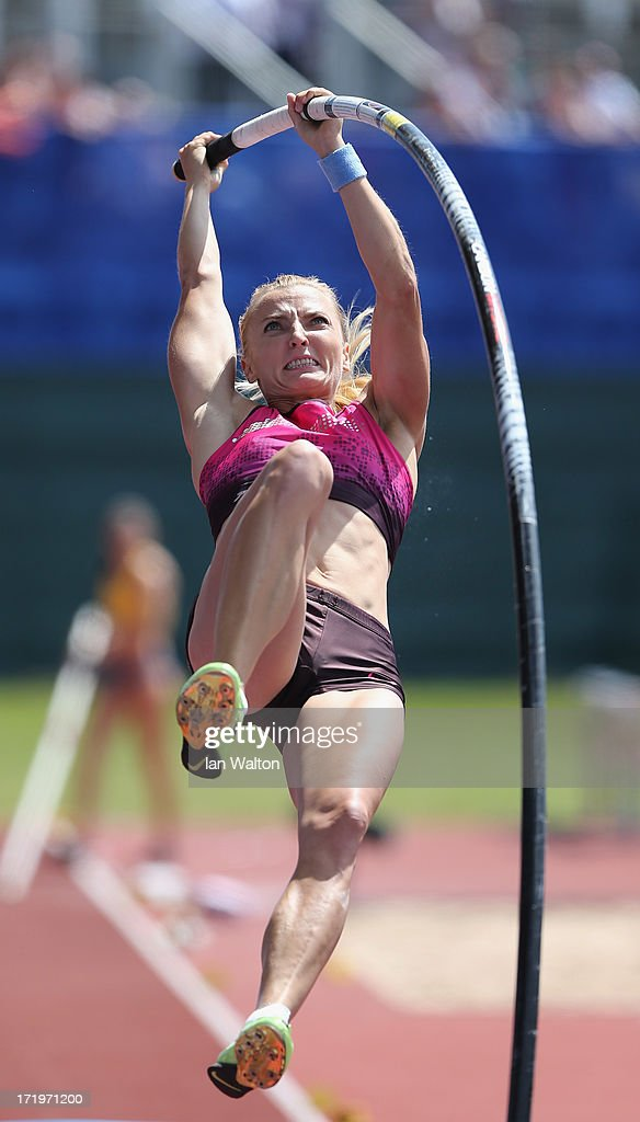 <a gi-track='captionPersonalityLinkClicked' href=/galleries/search?phrase=Anna+Rogowska&family=editorial&specificpeople=790729 ng-click='$event.stopPropagation()'>Anna Rogowska</a> of Poland competes in the Women's Pole Vault during the IAAF Diamond League at Alexander Stadium on June 30, 2013 in Birmingham, England.