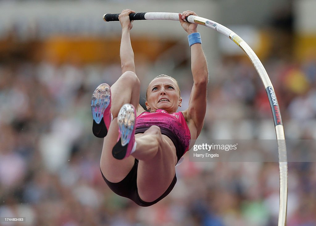 <a gi-track='captionPersonalityLinkClicked' href=/galleries/search?phrase=Anna+Rogowska&family=editorial&specificpeople=790729 ng-click='$event.stopPropagation()'>Anna Rogowska</a> of Poland competes in the Women's Pole Vault on day one during the Sainsbury's Anniversary Games - IAAF Diamond League 2013 at The Queen Elizabeth Olympic Park on July 26, 2013 in London, England.