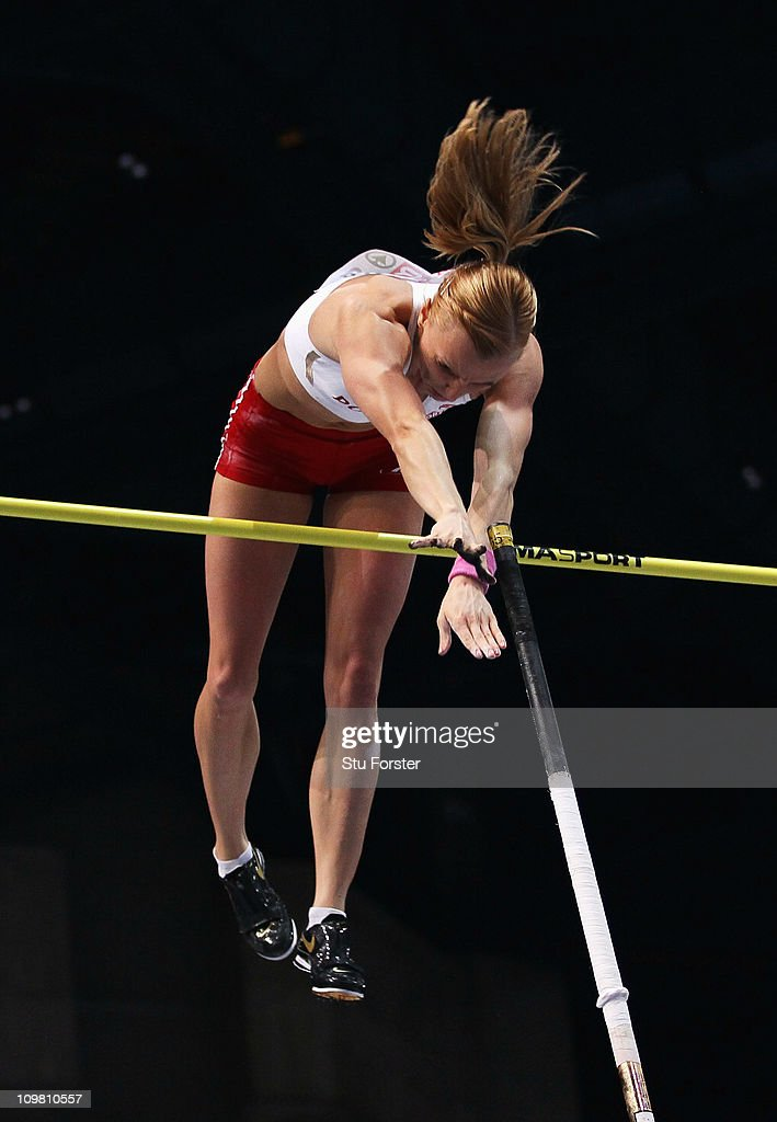 <a gi-track='captionPersonalityLinkClicked' href=/galleries/search?phrase=Anna+Rogowska&family=editorial&specificpeople=790729 ng-click='$event.stopPropagation()'>Anna Rogowska</a> of Poland competes on the way to winning the gold medal in the Women's Pole Vault during day 3 of the 31st European Athletics Indoor Championships at the Palais Omnisports de Paris-Bercy on March 6, 2011 in Paris, France.