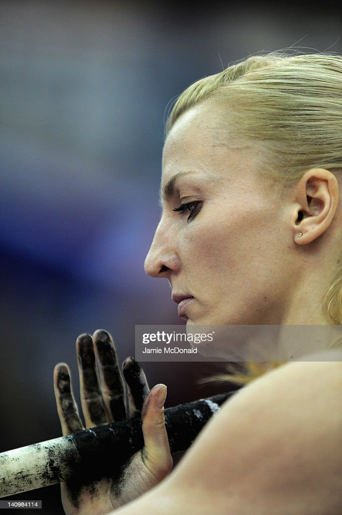 <a gi-track='captionPersonalityLinkClicked' href=/galleries/search?phrase=Anna+Rogowska&family=editorial&specificpeople=790729 ng-click='$event.stopPropagation()'>Anna Rogowska</a> of Poland holds the pole in the Pole Vault event during the Aviva Grand Pix at the NIA Arena on February 18, 2012 in Birmingham, England.