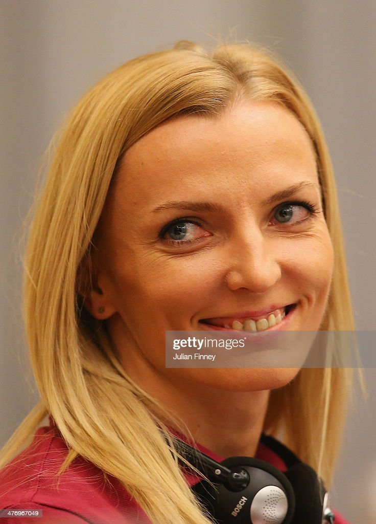 <a gi-track='captionPersonalityLinkClicked' href=/galleries/search?phrase=Anna+Rogowska&family=editorial&specificpeople=790729 ng-click='$event.stopPropagation()'>Anna Rogowska</a> of Poland smiles during a press conference prior to the IAAF World Indoor Championships at the Sheraton Hotel on March 6, 2014 in Sopot, Poland.