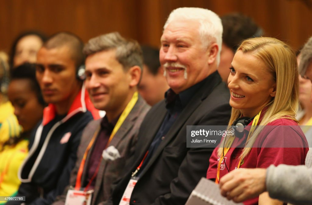 <a gi-track='captionPersonalityLinkClicked' href=/galleries/search?phrase=Anna+Rogowska&family=editorial&specificpeople=790729 ng-click='$event.stopPropagation()'>Anna Rogowska</a> (R) of Poland smiles during a press conference prior to the IAAF World Indoor Championships at the Sheraton Hotel on March 6, 2014 in Sopot, Poland.