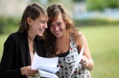 Anna Rowan and Paloma Robinson who both got 2 A* and 1 A grade celebrate their Alevel results at Hayesfield Girls' School on August 19 2010 in Bath...