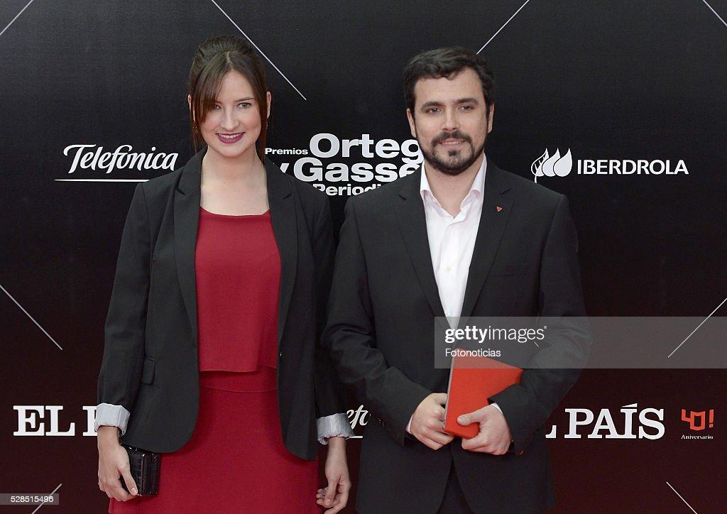 Anna Ruiz and Alberto Garzon attend the El Pais 40th anniversary dinner and 'Ortega y Gasset' awards ceremony at the Palacio de Cibeles on May 5, 2016 in Madrid, Spain.