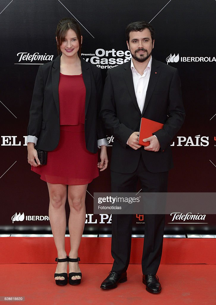 Anna Ruiz and Alberto Garzon attend the El Pais 40th anniversary dinner and 'Ortega y Gasset' awards ceremony at the Palacio de Cibeles on May 5, 2016 in Madrid, Spain.
