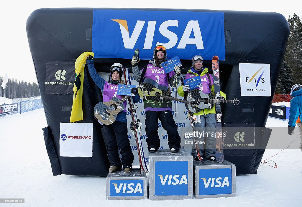 Anna Segal of Australia in third place, Keri Herman in first place, and Dara Howell of Canada in second place stand on the podium after the FIS Freestyle Ski World Cup ladies' slope style final at the U.S. Grand Prix on January 12, 2013 in Copper Mountain, Colorado.