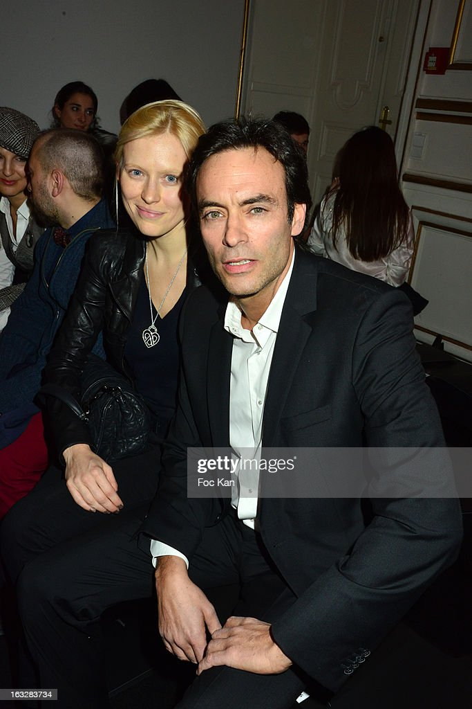 Anna Sherbininaand Anthony Delon attend the Jitrois - Front Row - PFW F/W 2013 at Hotel Saint James & Albany on March 6, 2013 in Paris, France.