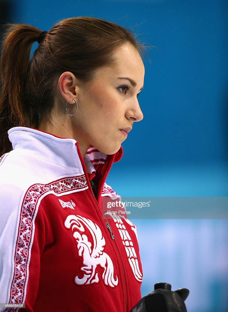 Anna Sidorovaof Russia competes during the Curling Women's Round Robin match between Russia and Great Britain on day ten of the Sochi 2014 Winter...