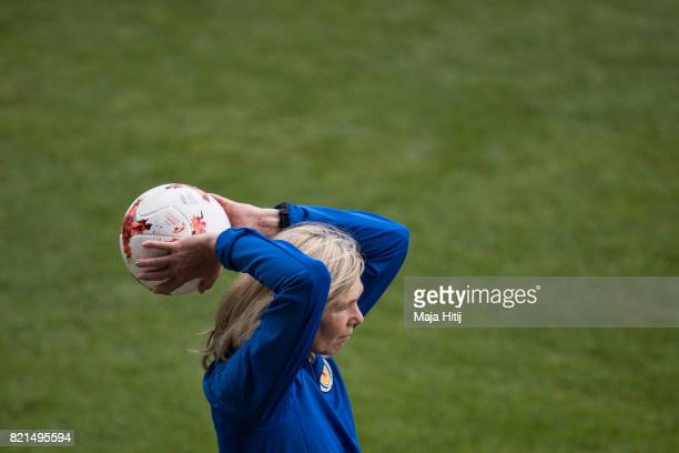 Anna Signeul head coach of Scotland holds the ball during the UEFA Women's Euro 2017 Group D match between Scotland v Portugal at Sparta Stadion on...