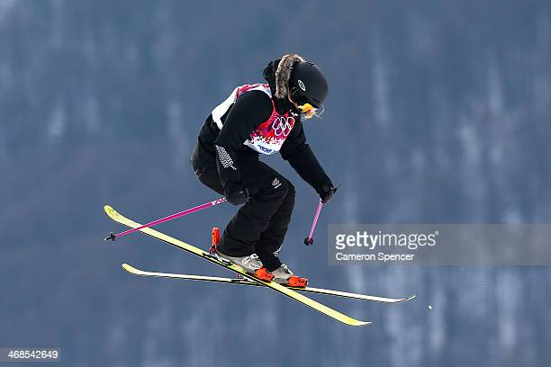 Anna SilfverbergWillcox of New Zealand competes in the Freestyle Skiing Women's Ski Slopestyle Qualification on day four of the Sochi 2014 Winter...